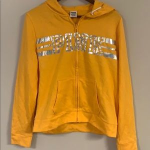 VS PINK yellow zip up hoodie w/ holographic words